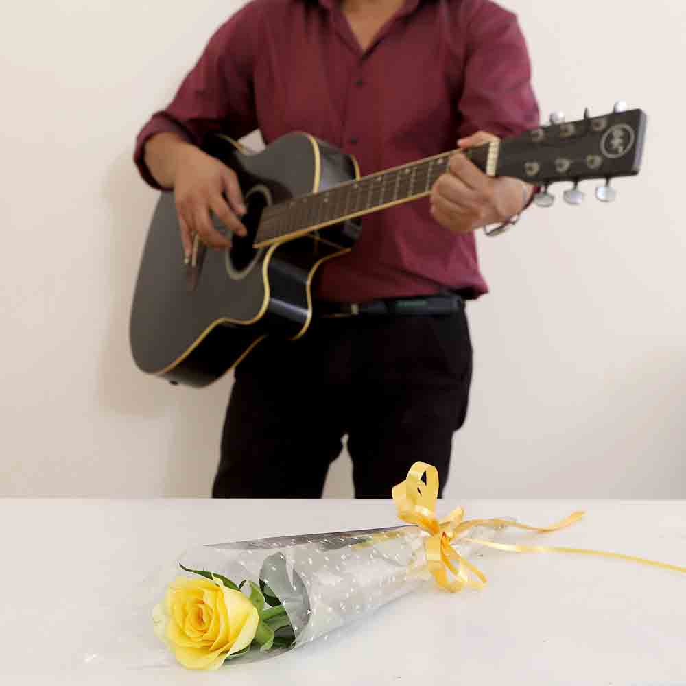 Single Yellow Rose Musical Combo