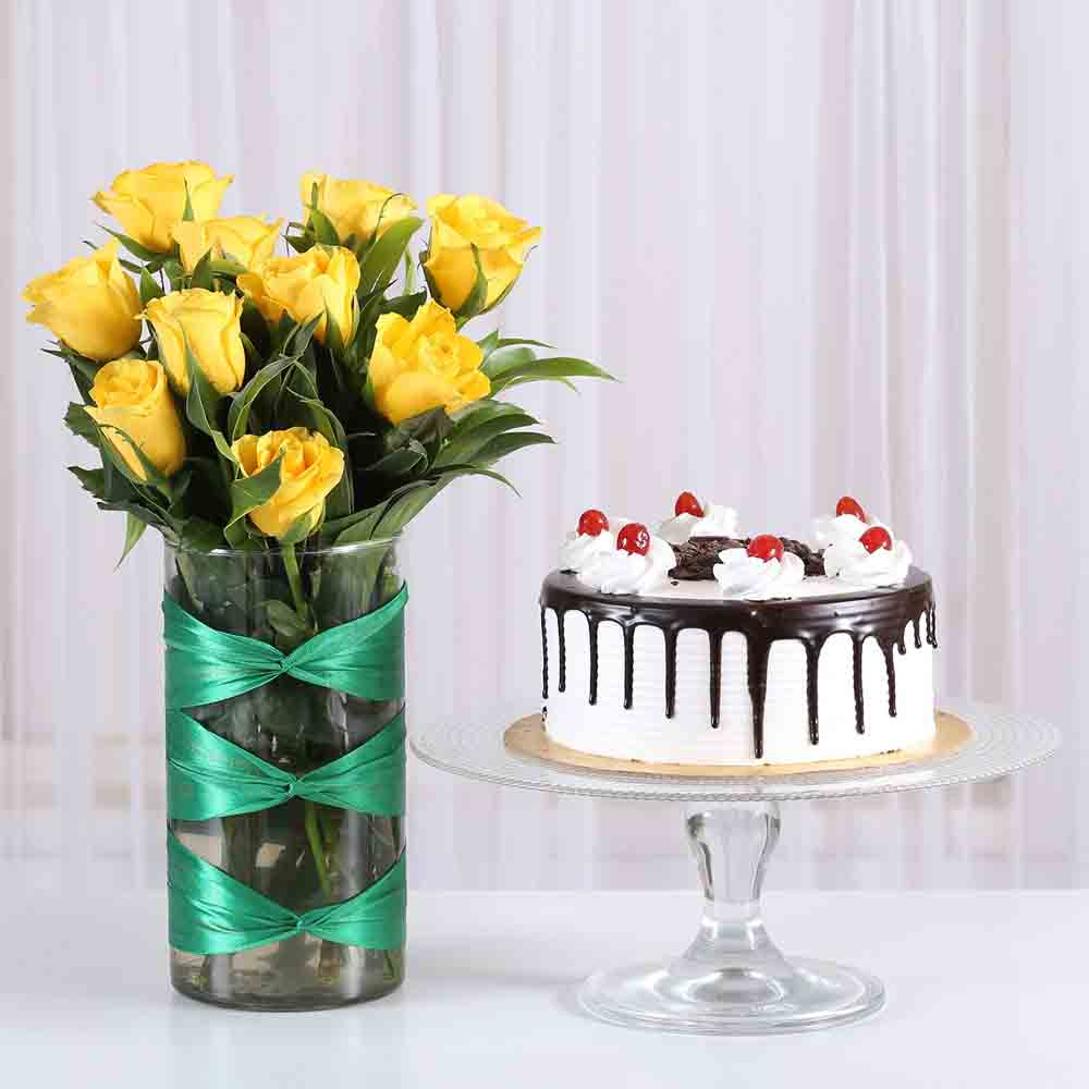 Yellow Roses Vase Black Forest Cake Combo