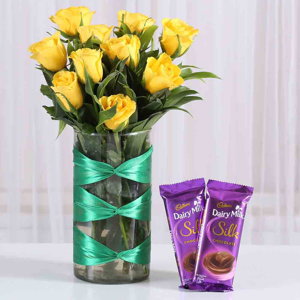 Yellow Roses Vase Dairy Milk Silk Combo