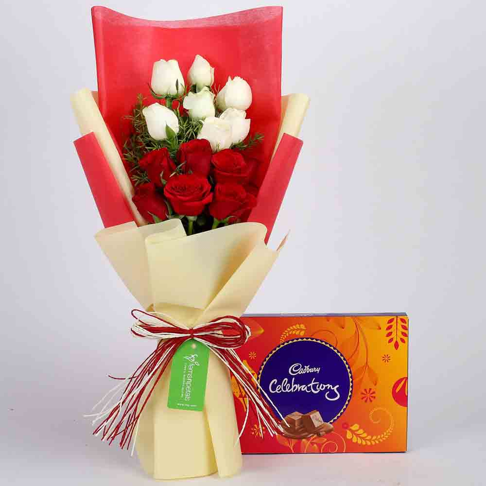 Cadbury Celebrations Box With Red White Roses