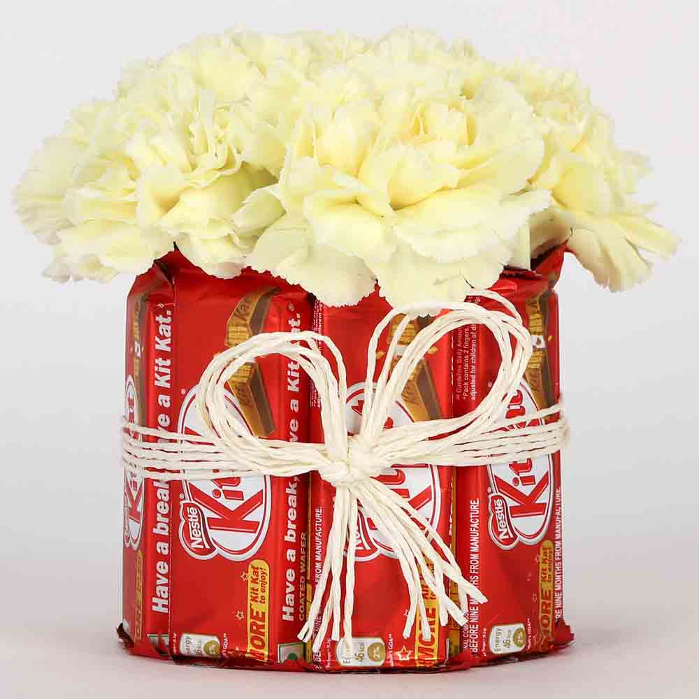 Kit Kat Yellow Carnations Arrangement