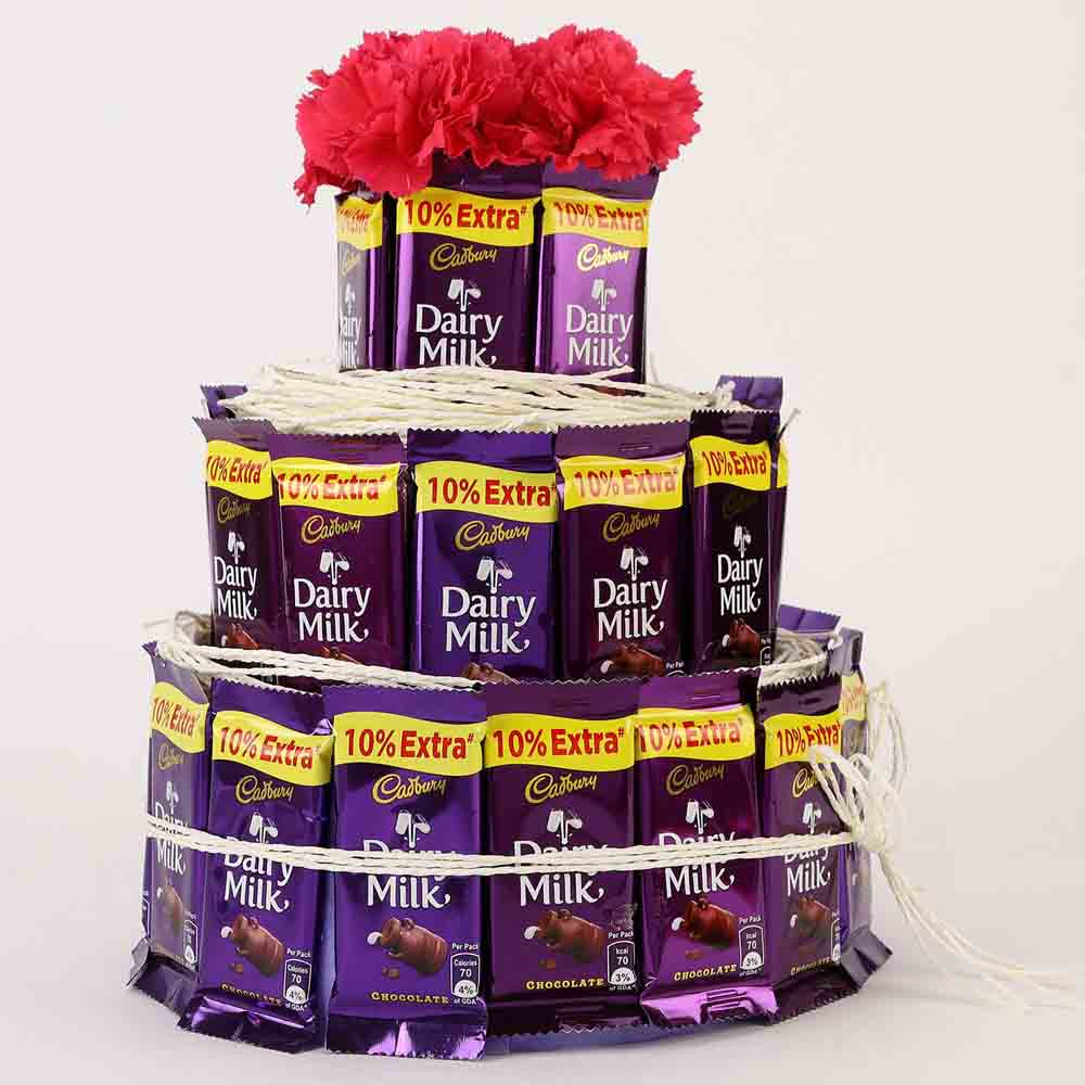 Dairy Milk Carnations 3 Tier Arrangement