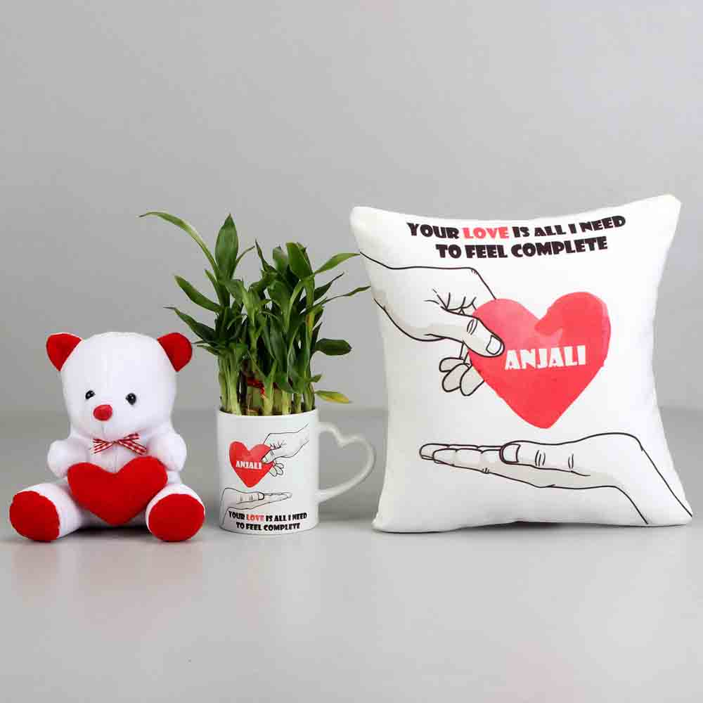 2 Layer Bamboo Plant With Love Cushion Teddy