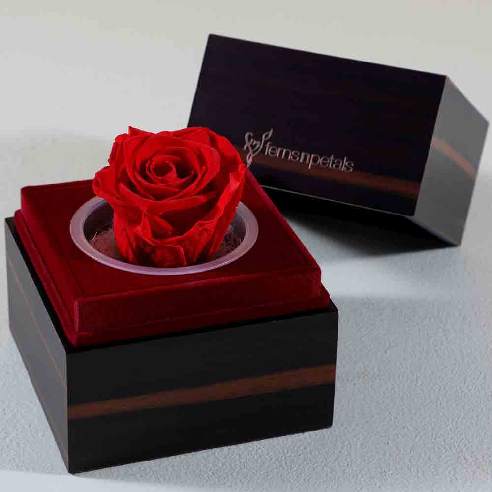 Forever Lasting Red Rose In Wooden Box