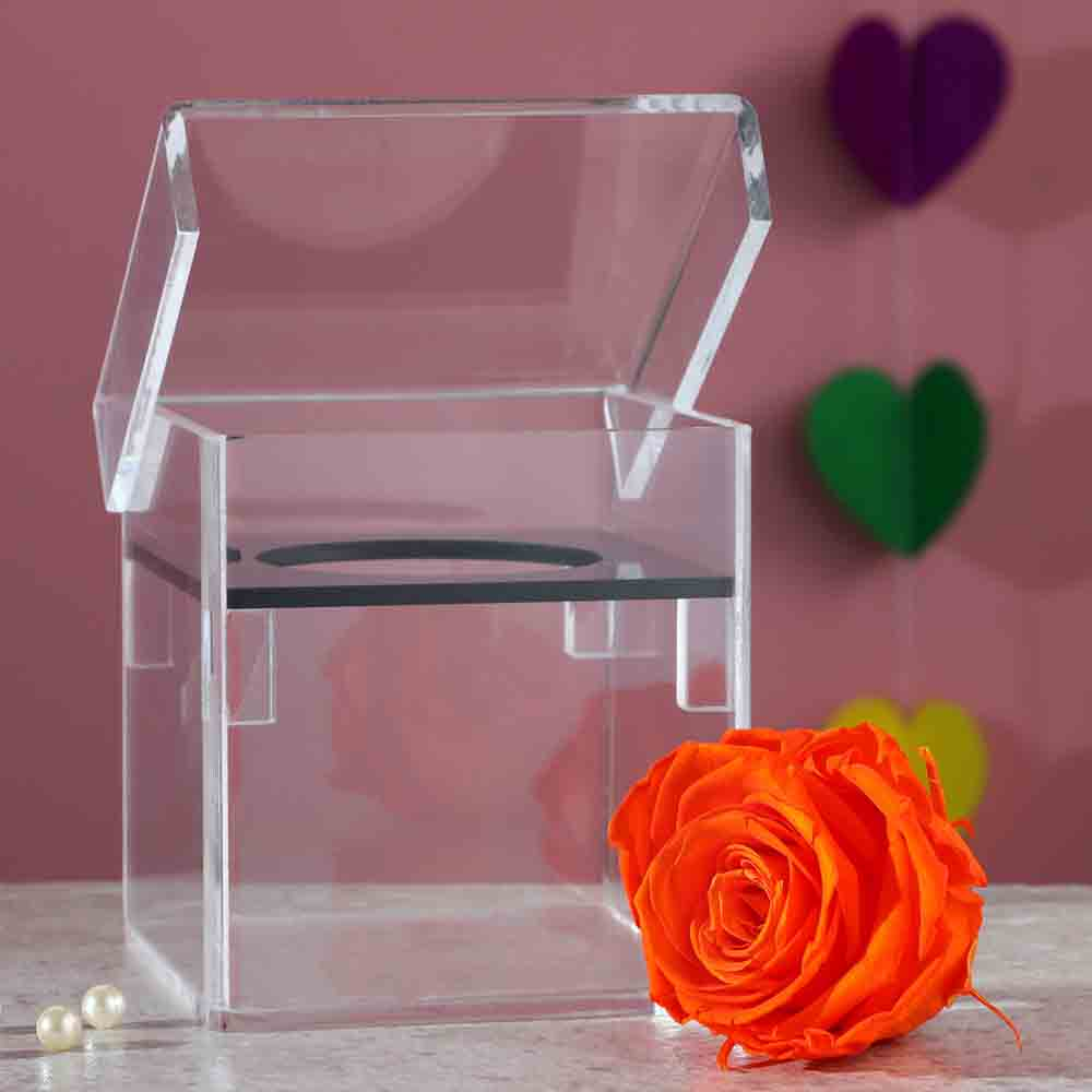 Orange Forever Rose Enclosed In Acrylic Box