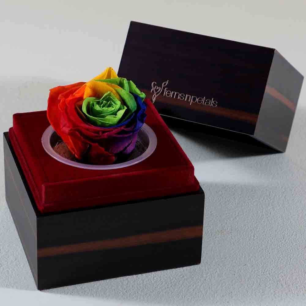Wooden Box With Multicolour Forever Rose
