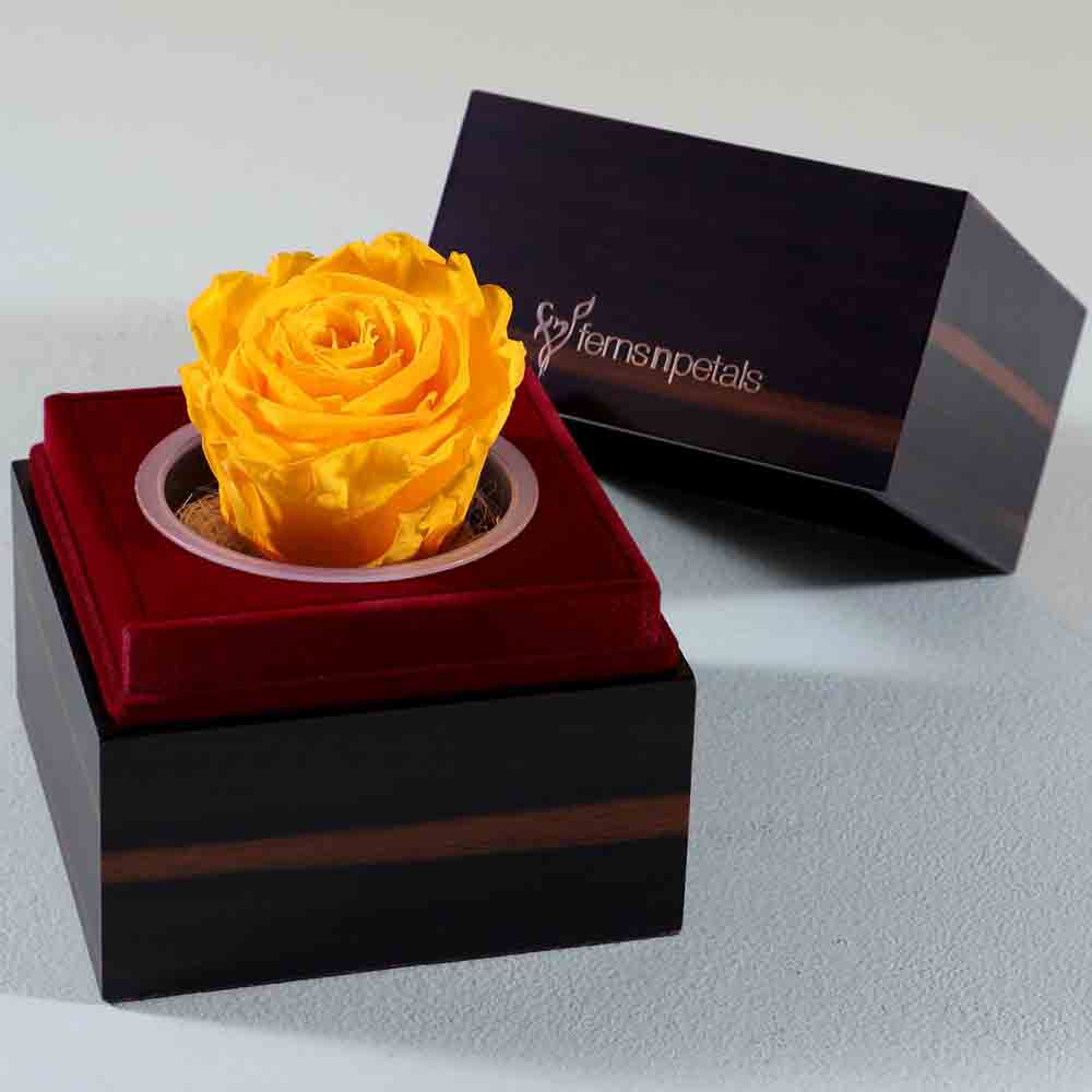 Wooden Box With Yellow Forever Rose