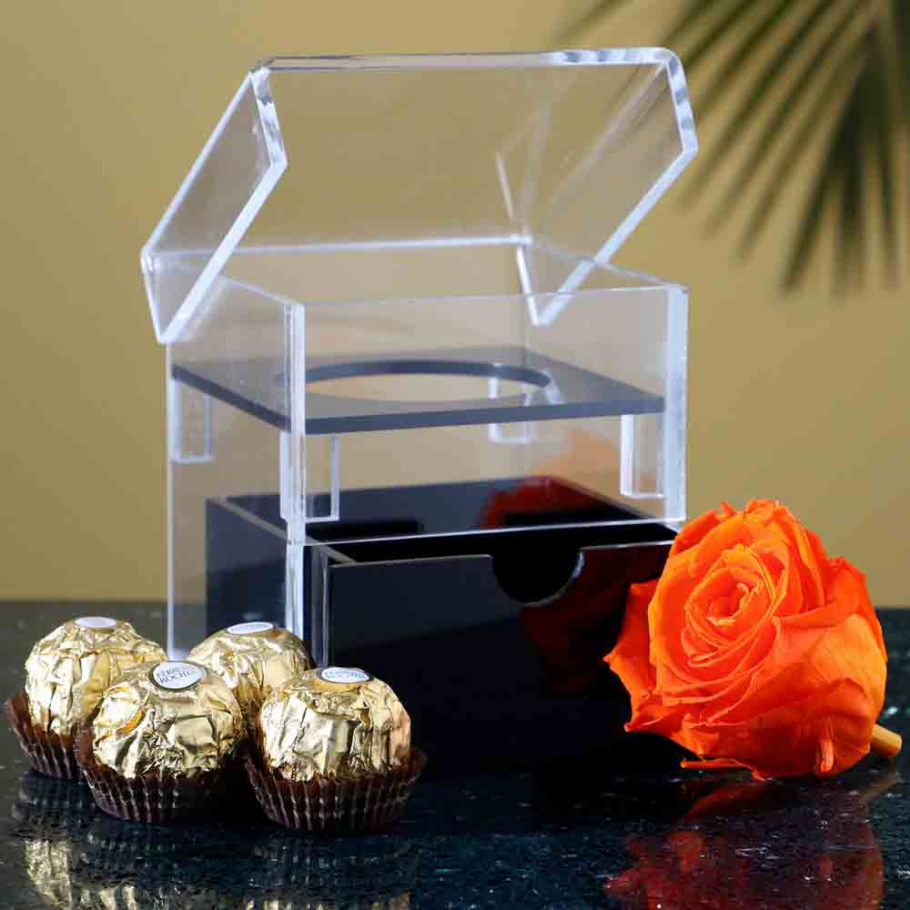 Acrylic Box Of Forever Rose Ferrero Rocher
