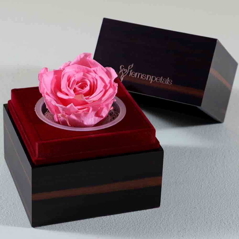 Pretty Pink Forever Rose In Wooden Box