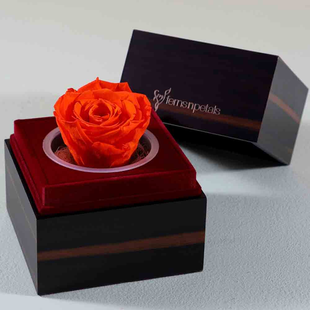 Orange Forever Rose In Wooden Box