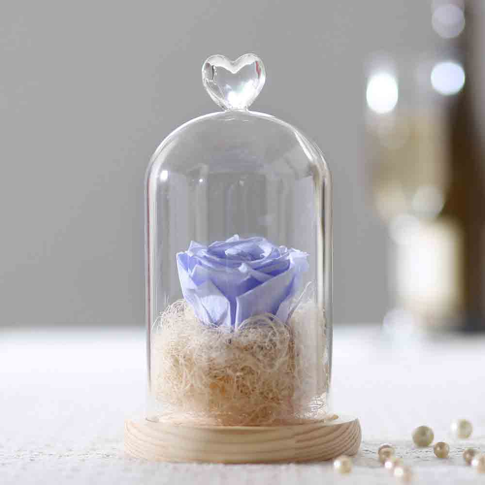 Forever Lavender Blue Rose In Glass Dome