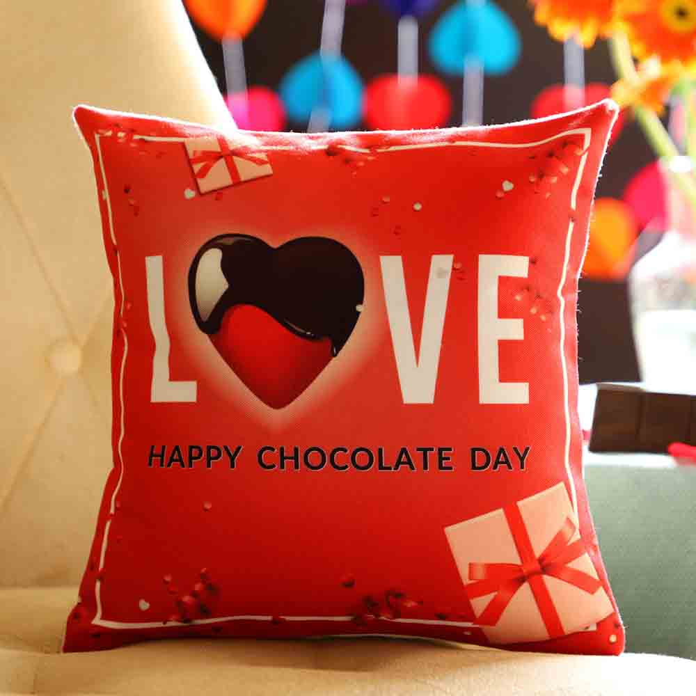 Chocolate Day Love Greetings Cushion
