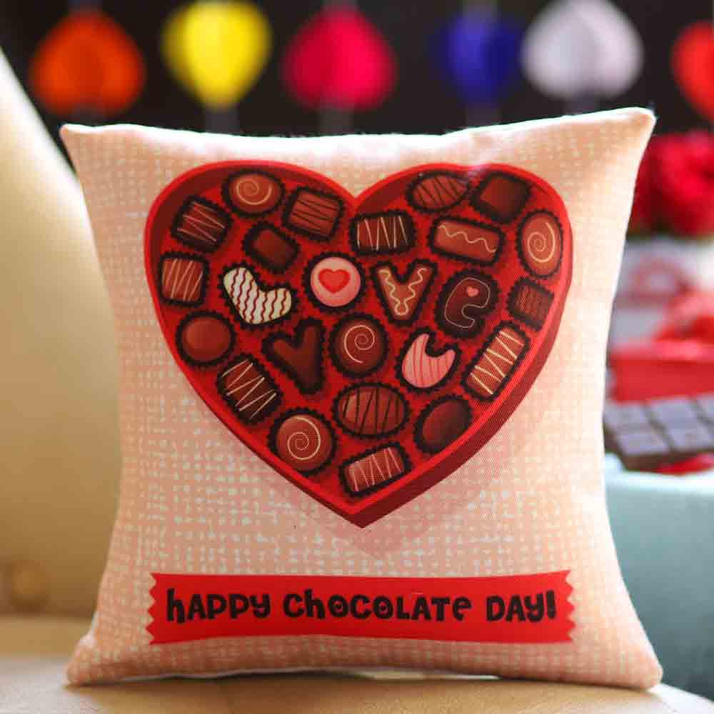 Happy Chocolate Day Greetings Cushion