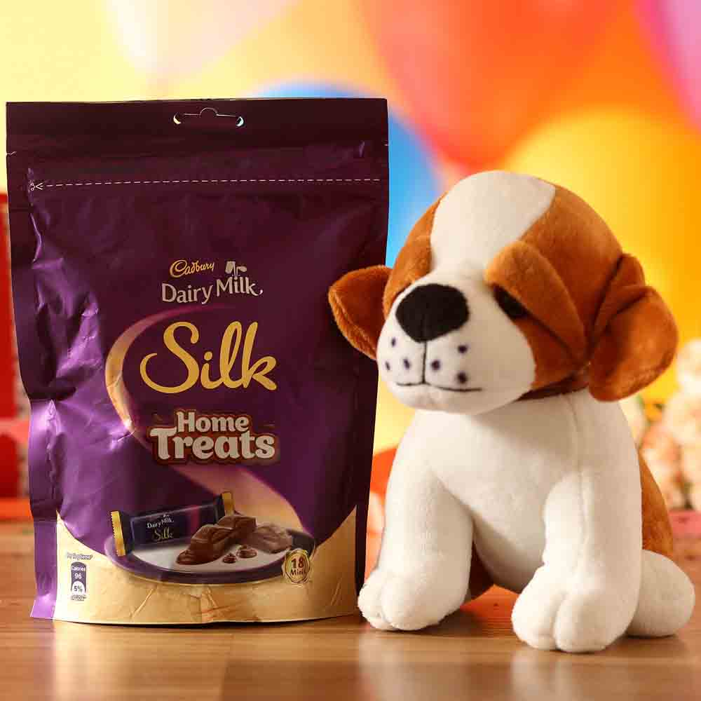 Adorable Dog Soft Toy Silk Chocolate Pack