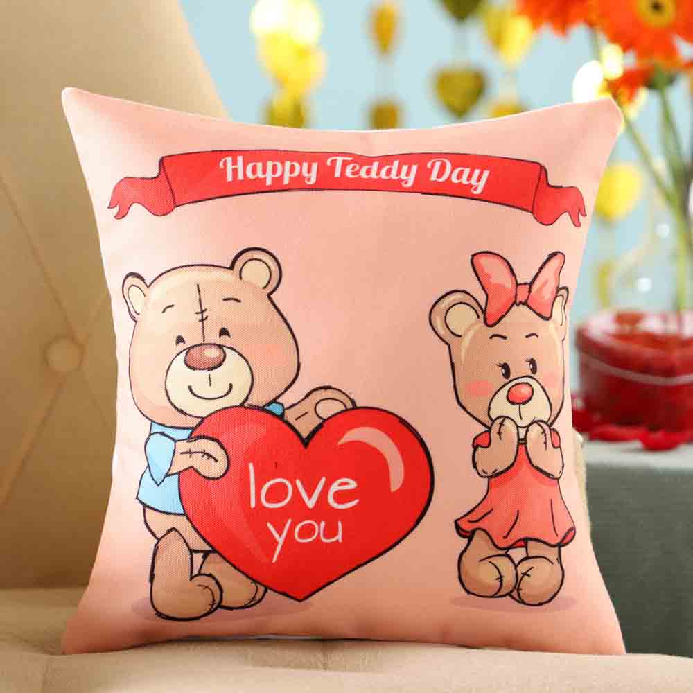 Love You Teddy Day Cushion
