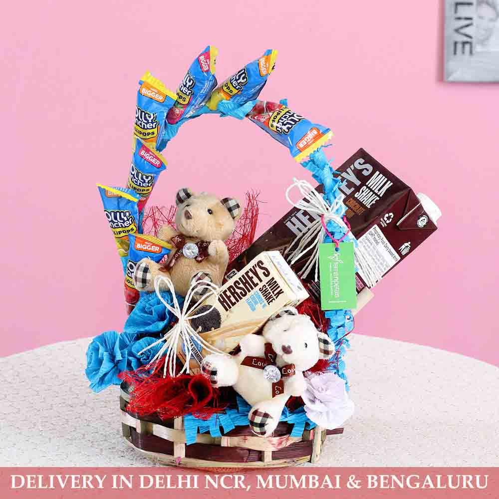 Valentine Hampers-Teddy Treats Hershey Gift Basket