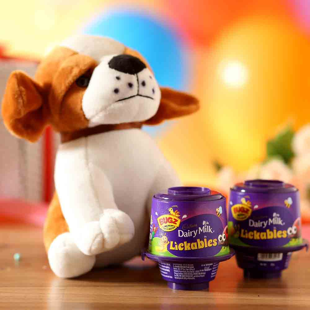 Valentine Hampers-Adorable Dog Soft Toy Cadbury Lickables