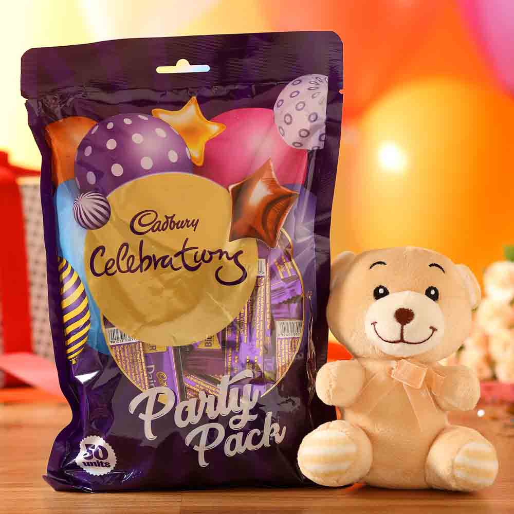 Valentine Hampers-Adorable Teddy Bear Cadbury Party Pack