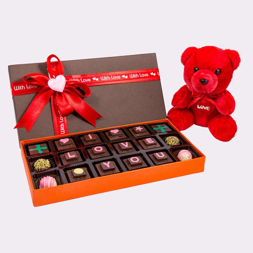 Velvet Fine Chocolate's I Love You Box with Teddy