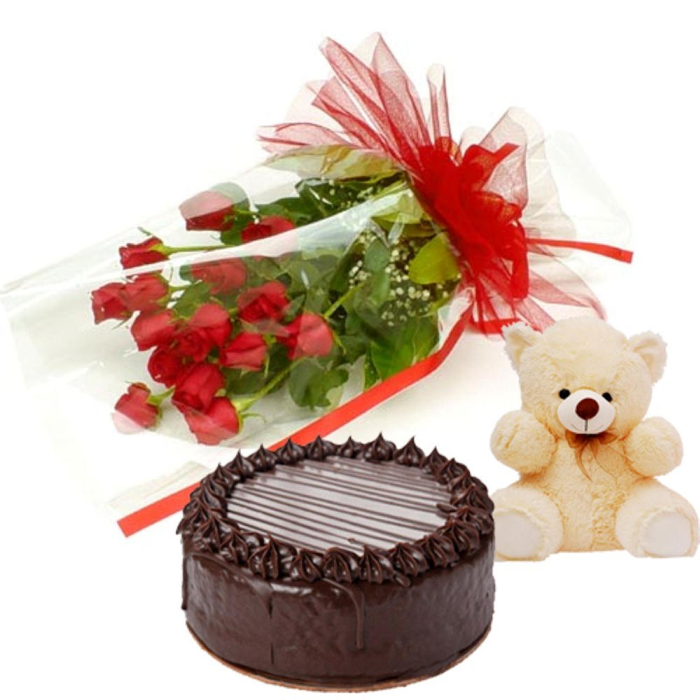 Valentine Chocolates- Heart Pillow with Teddy and Chocolate Bar