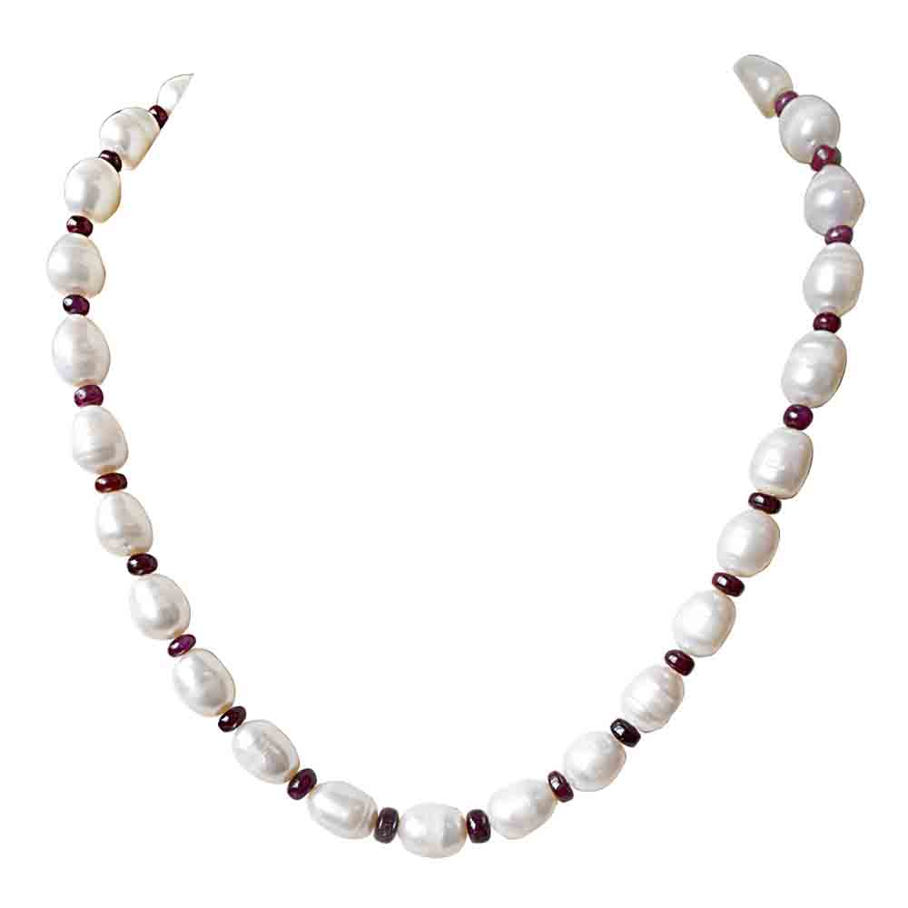 Single Line Real Beads Elongated Pearl Necklace