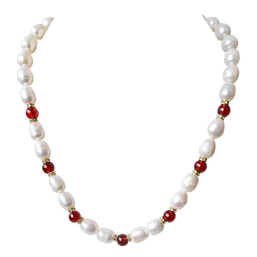 Single Line Elongated Pearl & Red Stone Necklace