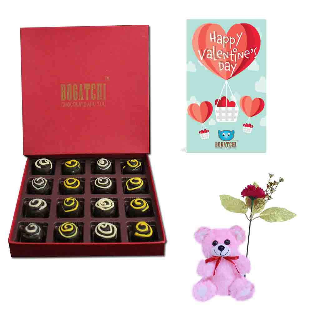 Truffles 16 with Free Rose, Teddy & Greeting