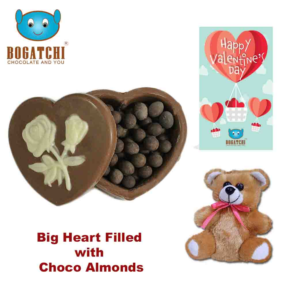 Heart shaped chocolate box wth Choco Almonds , Teddy and Greeting