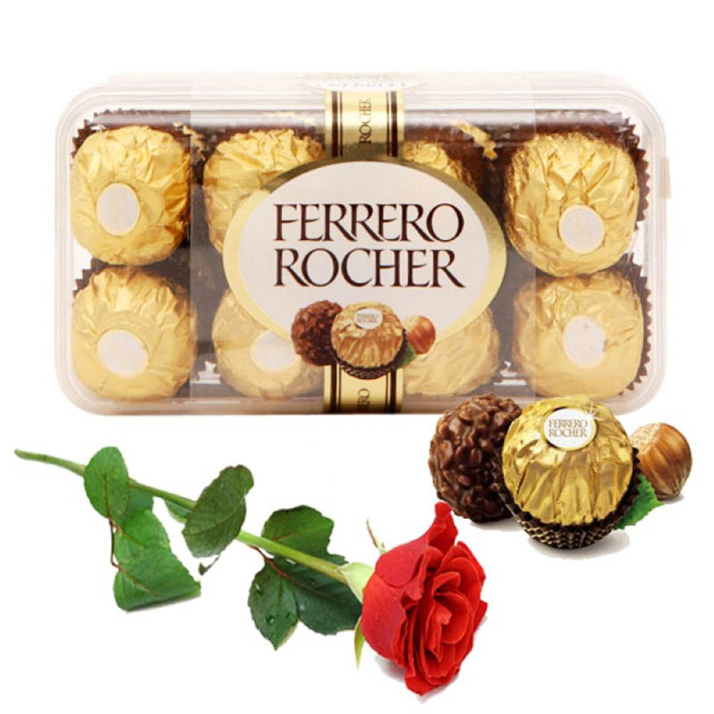 Red Rose with Ferrero Rocher Chcocolates