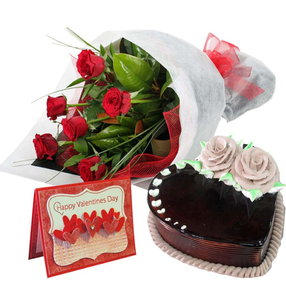 Heart Shape Chocolate Cake with Roses Bouquet & Valentine Card