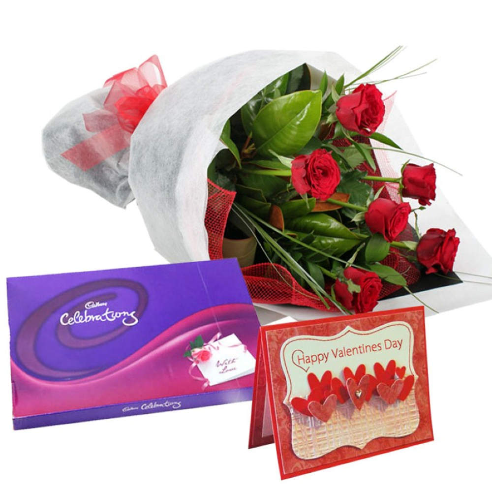 Roses Bouquet with Cadbury Celebration Chocolate & Greeting Card