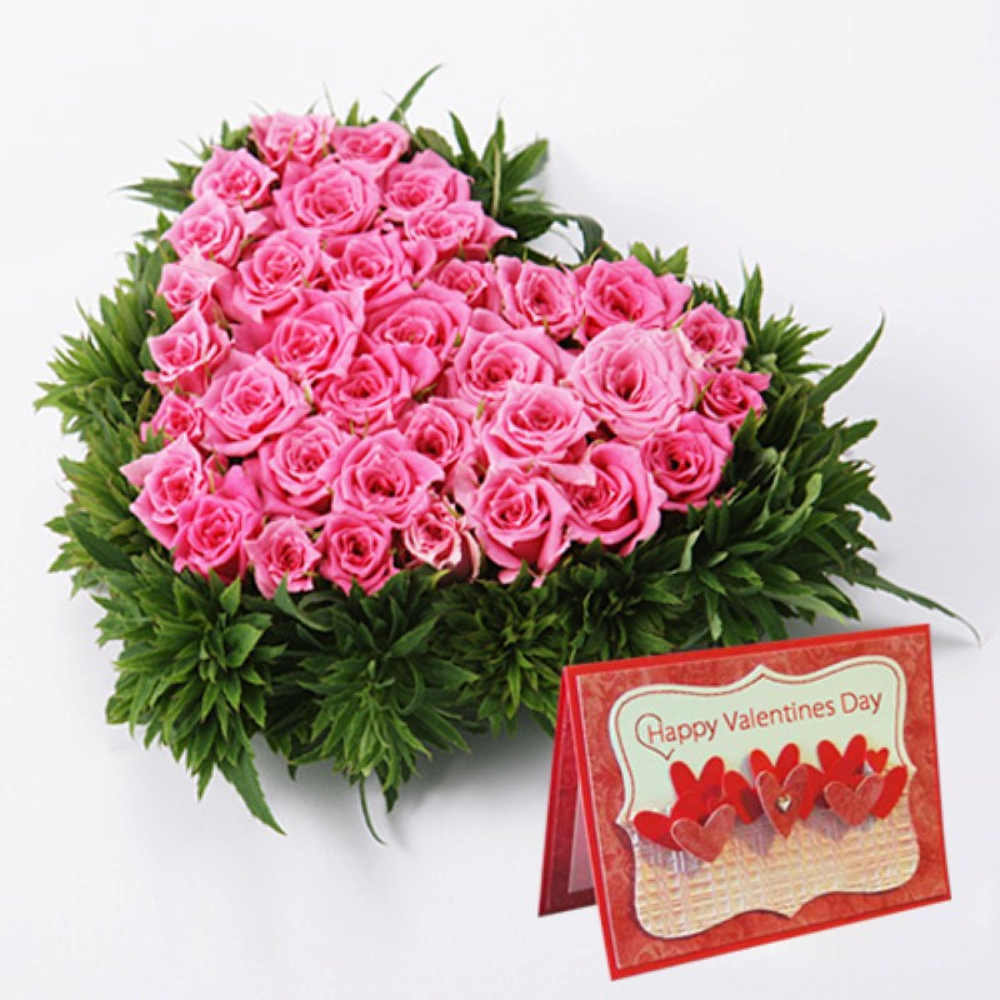 Pink Roses Heart Shape Arrangement with Valentine Card