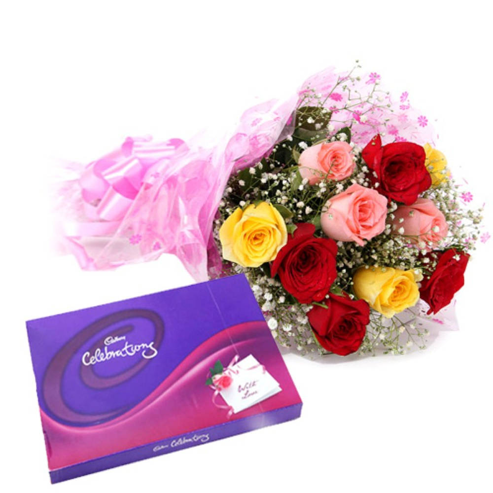 Love Celebration Pack With Multi Color Roses