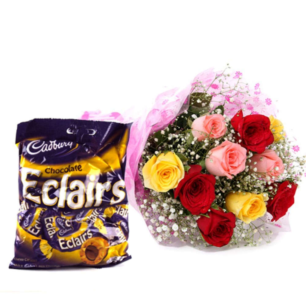 Hamper of Ten Multi Color Roses with Eclairs Toffee