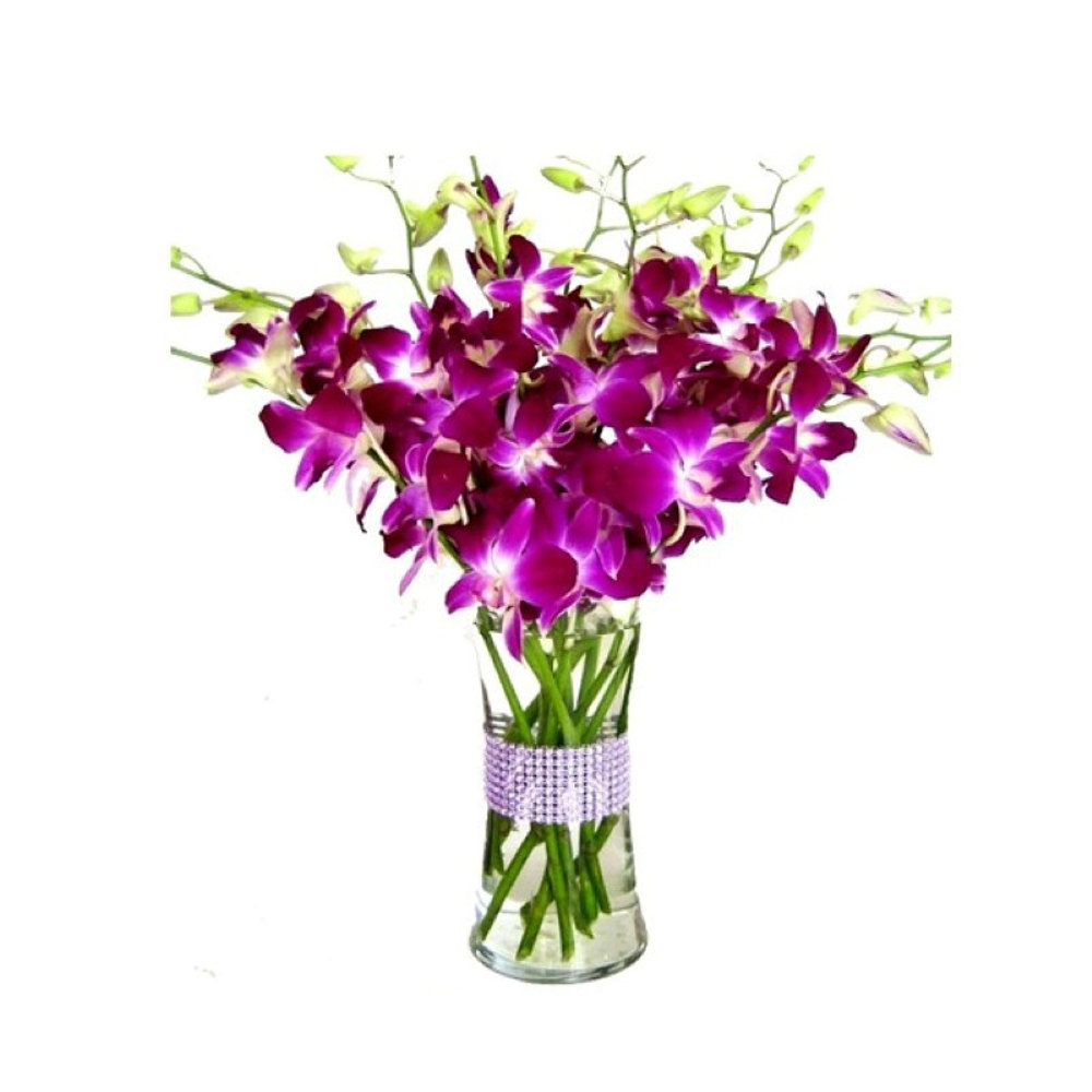 Ten Purple Orchids Vase for Valentine