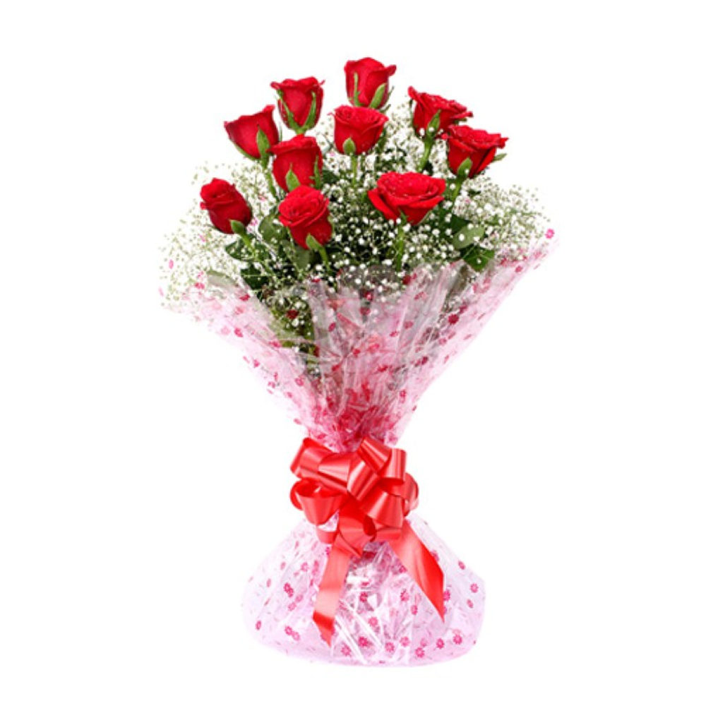 Bouquet of Ten Red Roses for Love