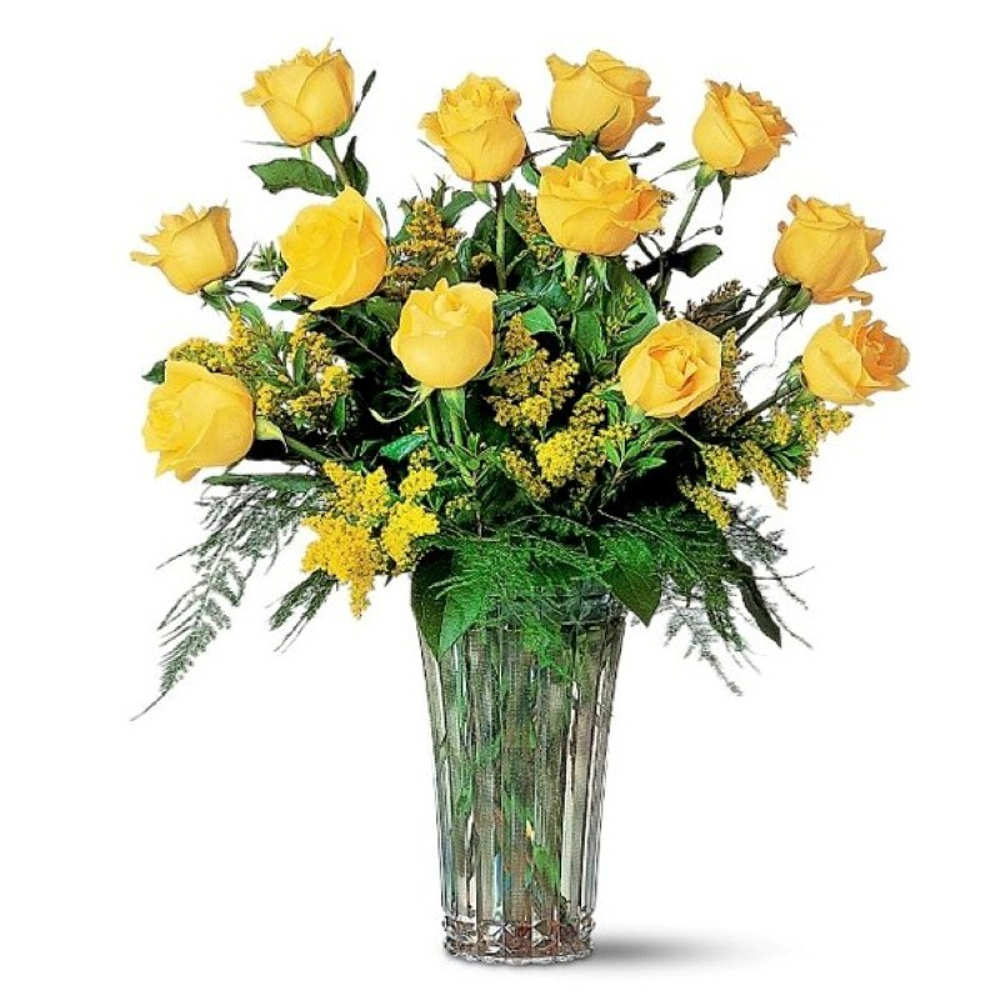 Loving Twelve Yellow Roses for Valentine