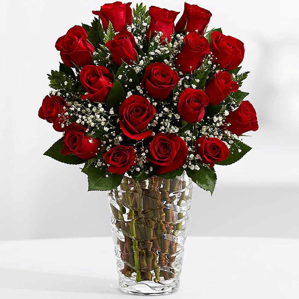 Eighteen Red Roses Vase for Valentine Day