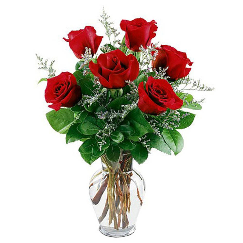 Six Lovely Red Roses In A Glass Vase
