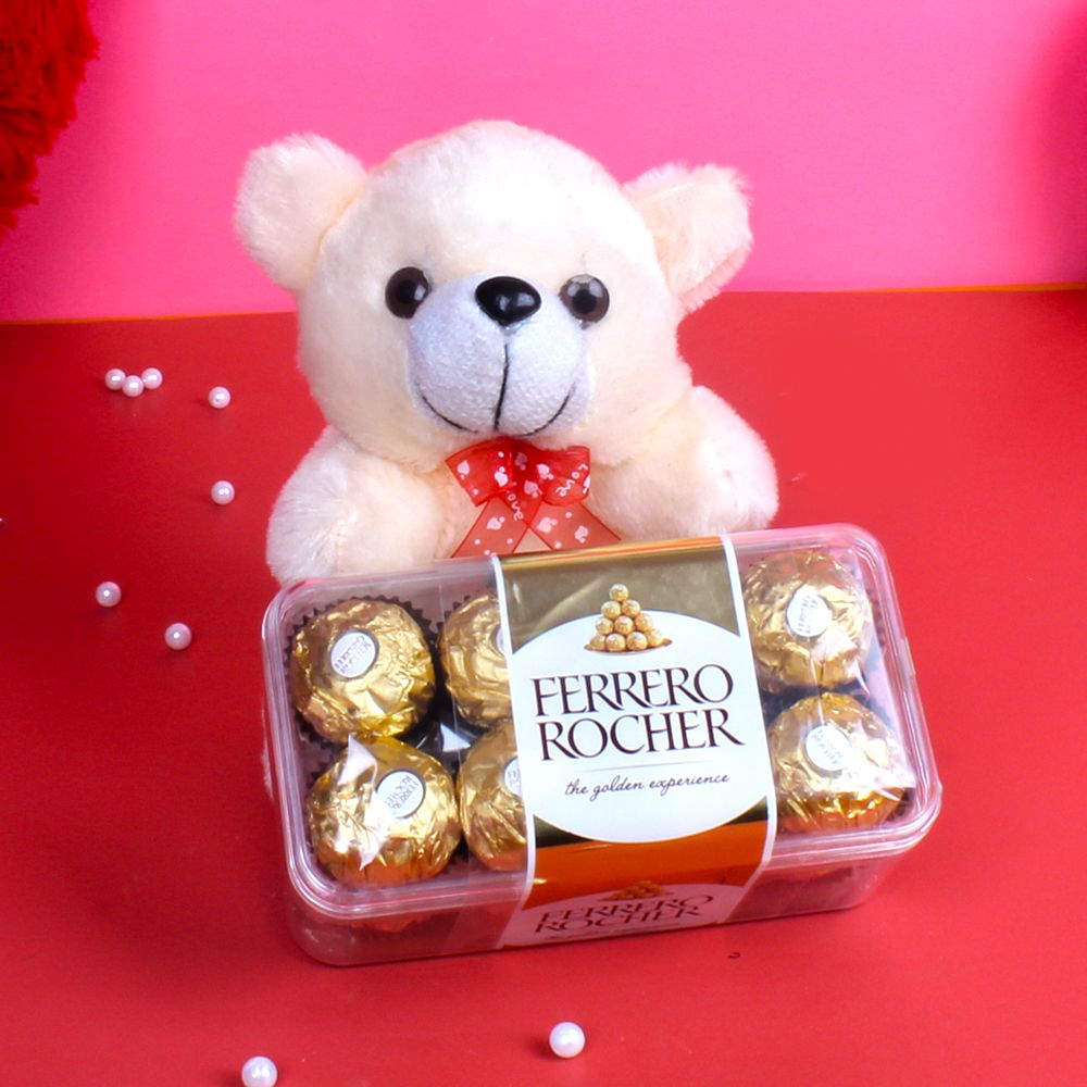 Soft Toy Hampers-Teddy Bear with Ferrero Rocher