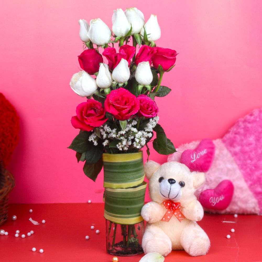 Soft Toy Hampers-Teddy Bear with Pink and White Roses Arrangement