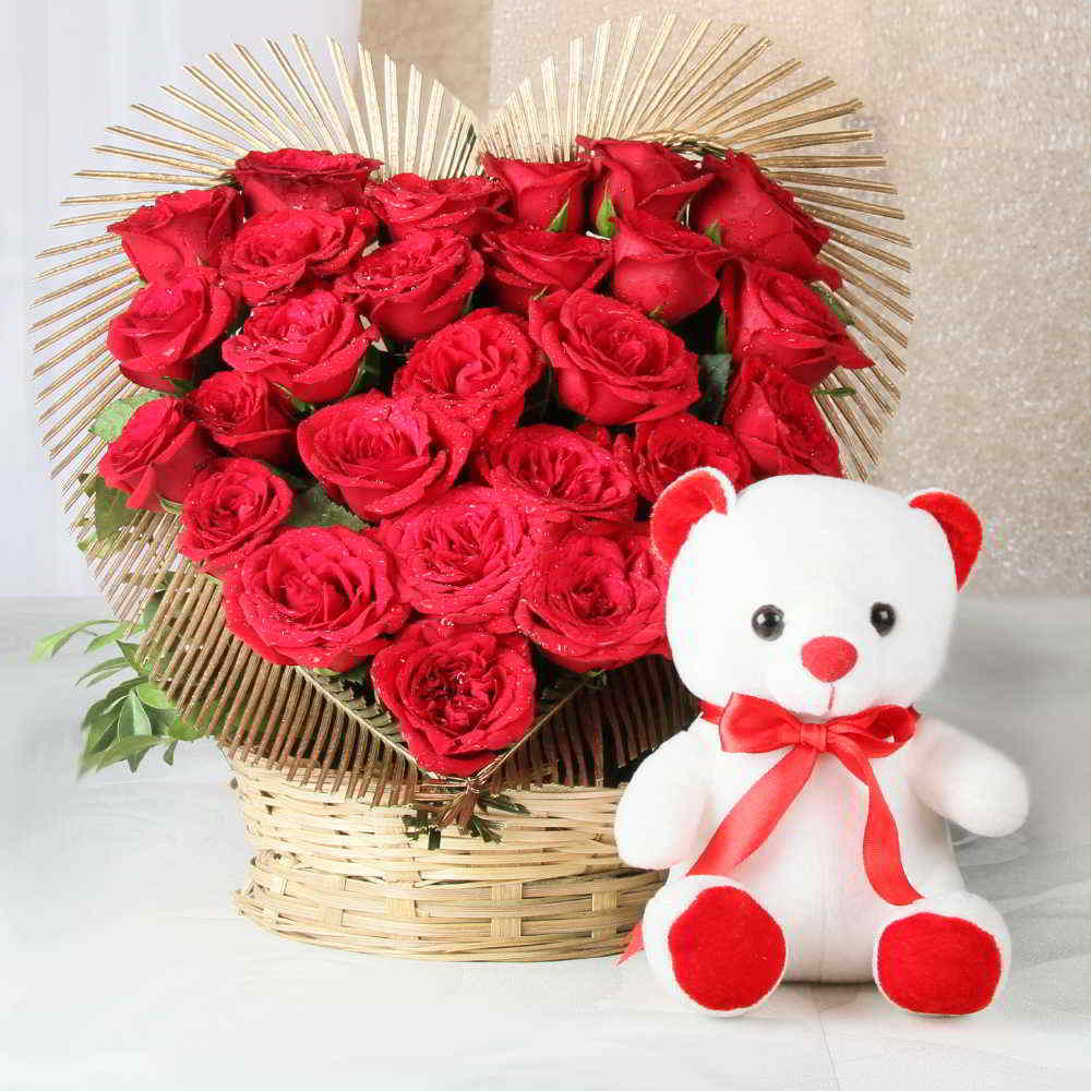 Soft Toy Hampers-Heart Shape Arrangement of Red Rose with Teddy Bear
