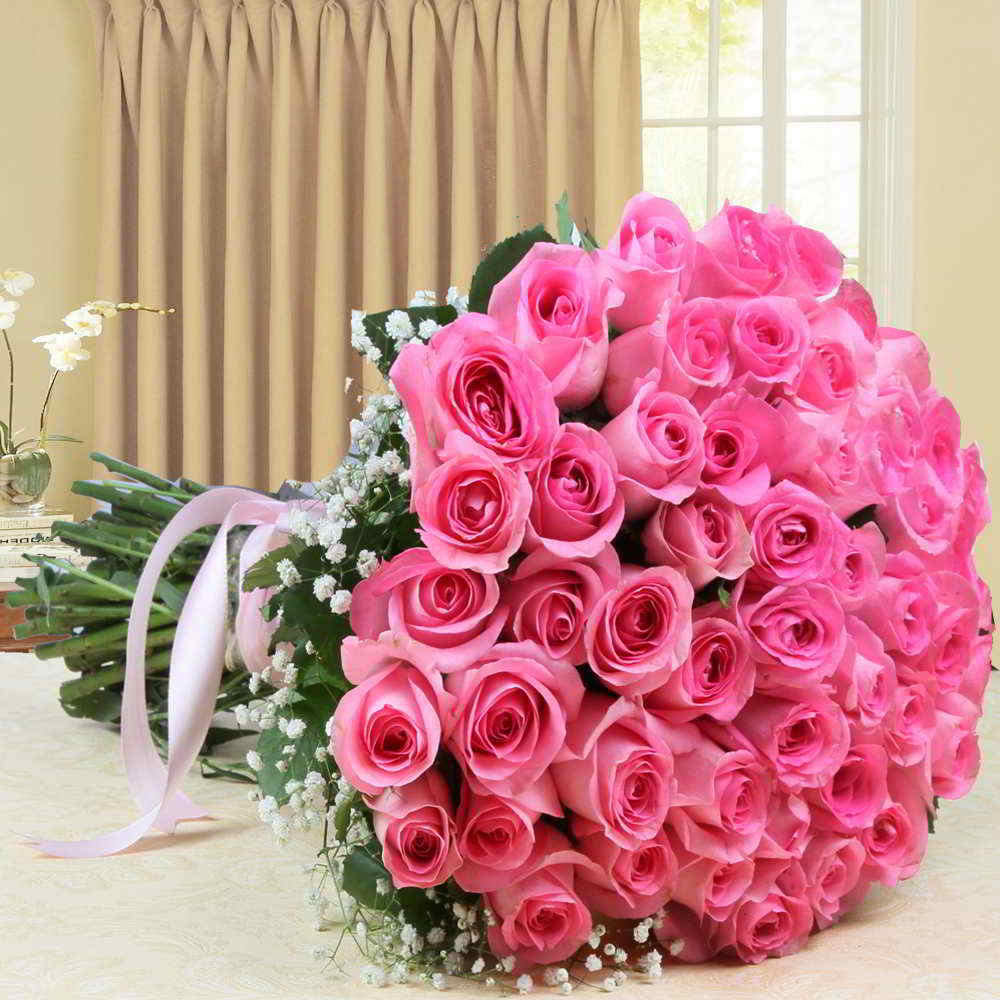Valentine Roses-Bouquet of Fifty Pink Roses For Valentine Gift