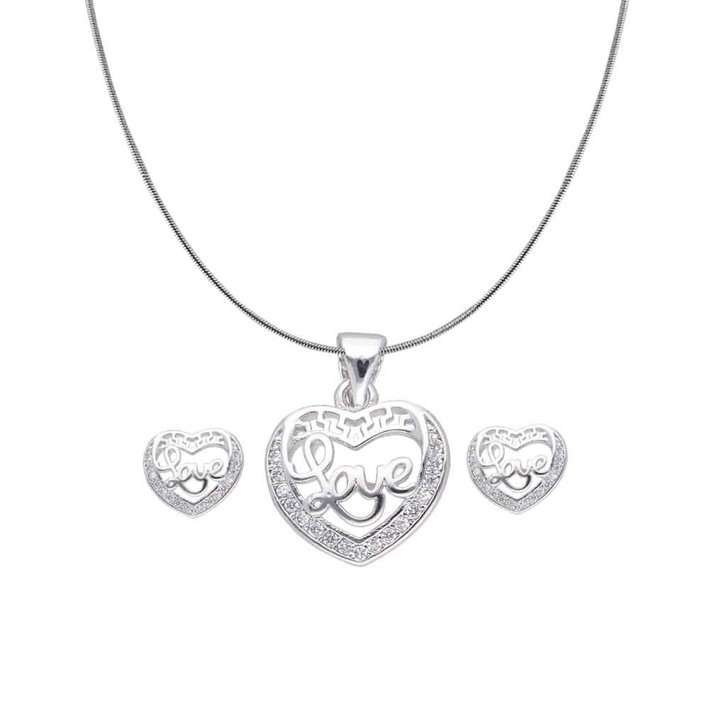 Love Cz Heart Pendant Set