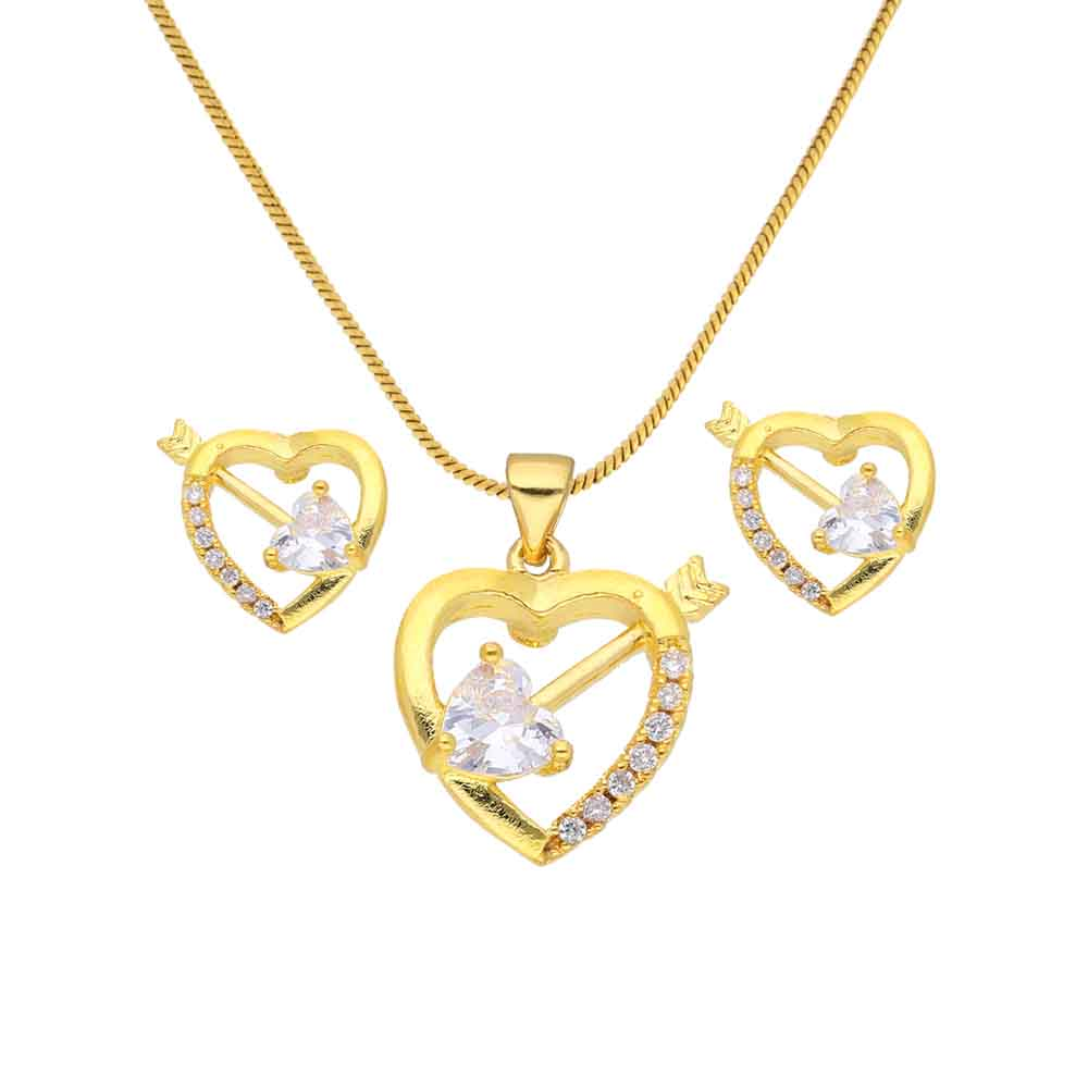 Jewelry-Cz Heart Pendant Set