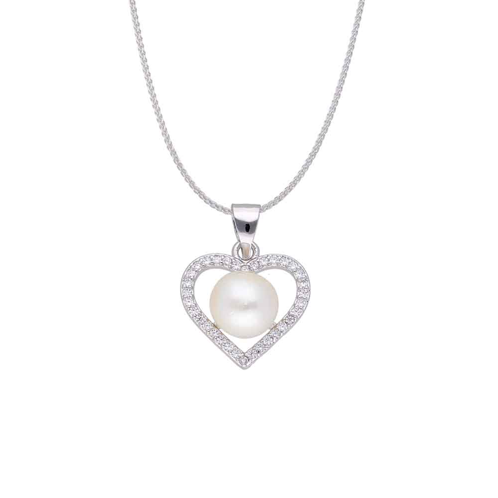 Silver Heart Pearls Pendant