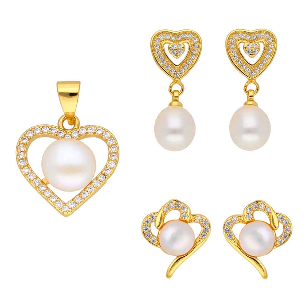 Jewelry-Set Of 2 Pair Cz Pearl Earrings With Heart Shape Pendant