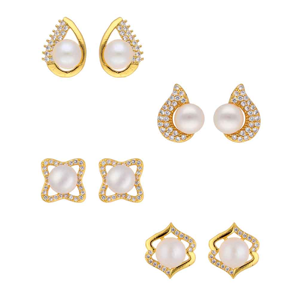 Set Of 3 Pair Cz White Pearl Earrings