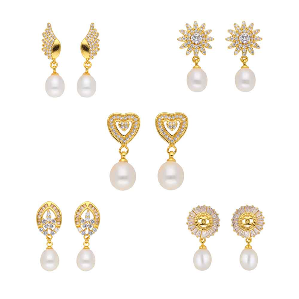 Unique Combo Set Of 5 Pair Cz White Pearl Earrings
