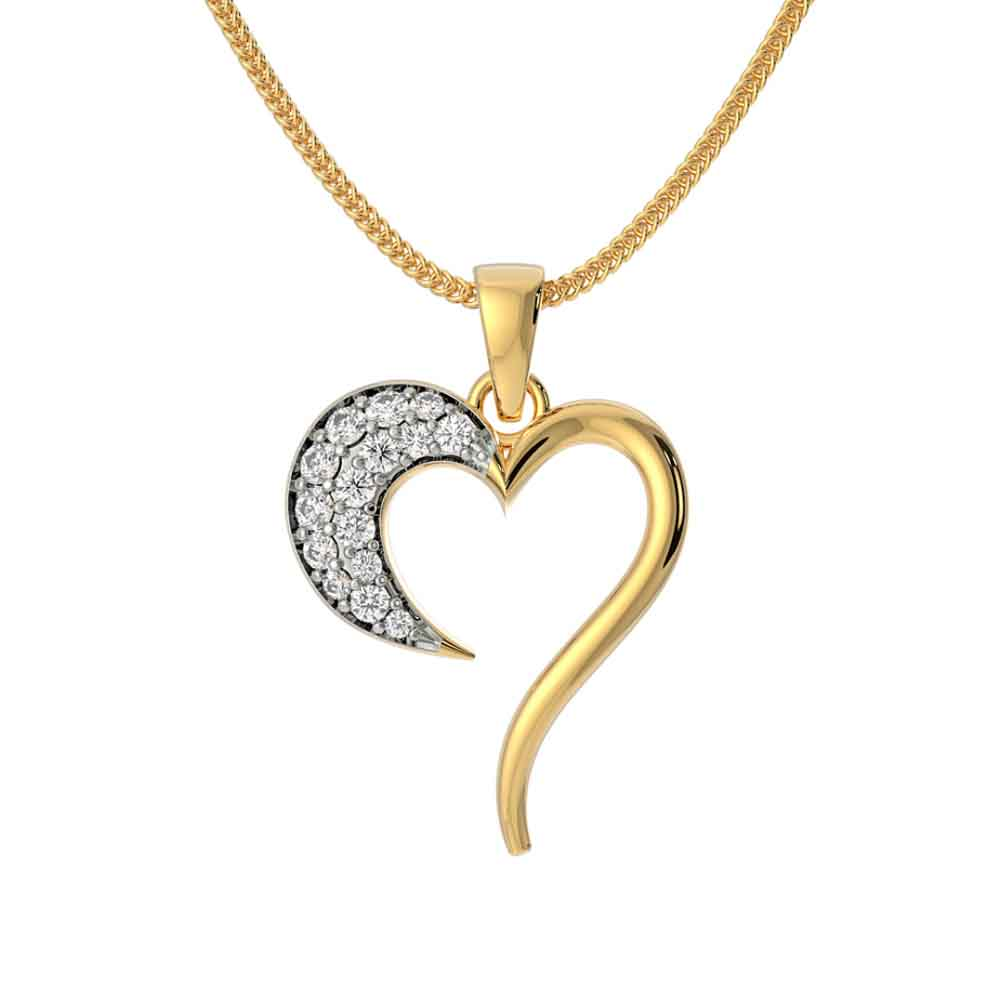 18Kt Gold Valentines Special Heart Cz Pendant